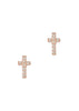 Petite Cross stud with high quality micro pave CZ, Rose gold finish