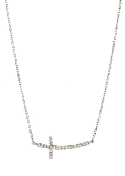 Sideways Cross necklace with high quality micro pave CZ, White gold finish
