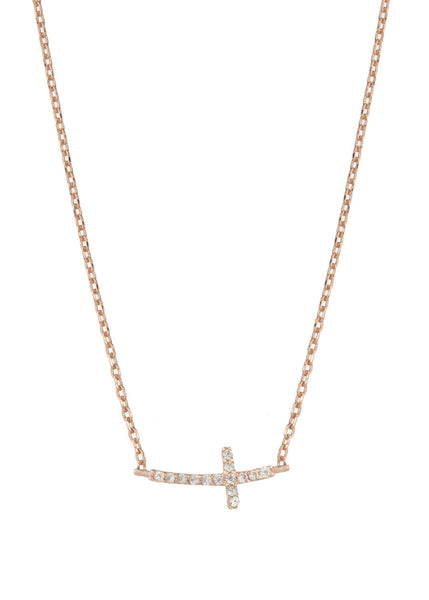 Petite Sideways Cross necklace with high quality micro pave CZ, Rose gold finish
