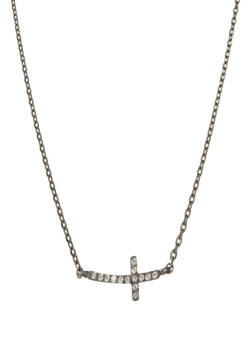 Petite Sideways Cross necklace with high quality micro pave CZ, Gun metal finish