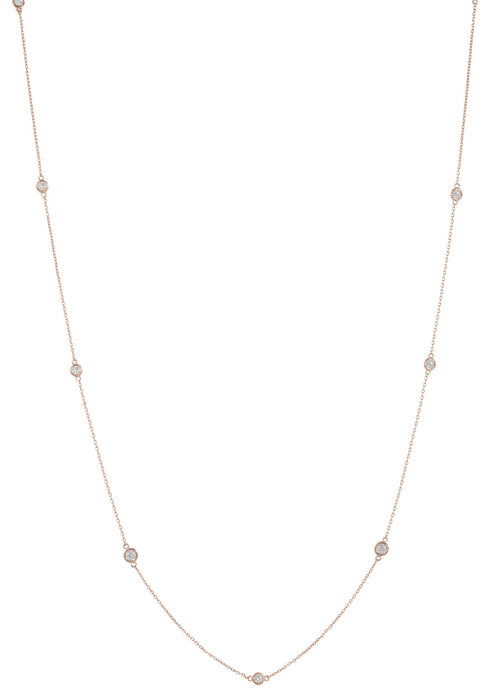 Sixteen Bezel set high quality CZ stationed long necklace, Rose gold finish