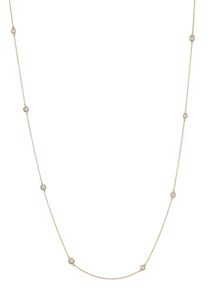 Sixteen Bezel set high quality CZ stationed long necklace, Gold finish
