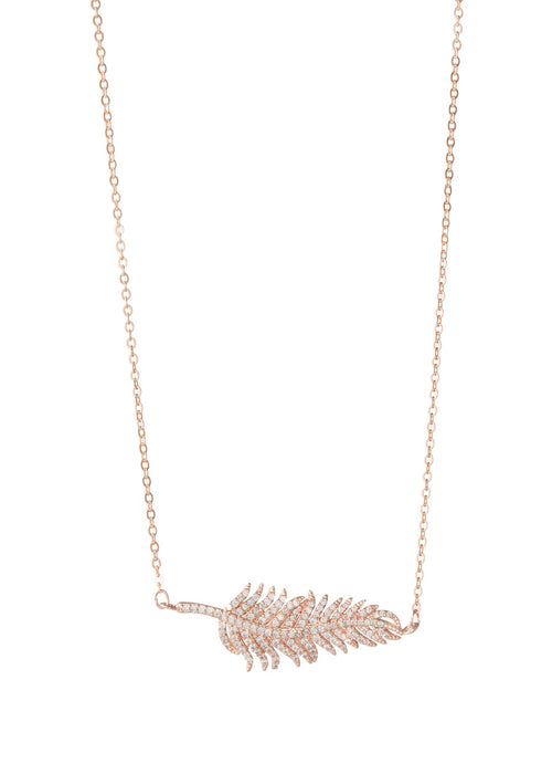 Feather hand set micro pave high quality CZ necklace, Rose gold finish