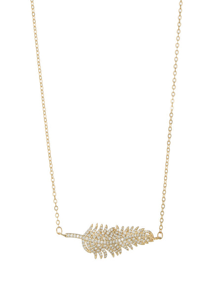 Feather hand set micro pave high quality CZ necklace, Gold finish