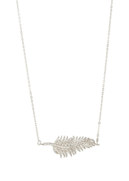 Feather hand set micro pave high quality CZ necklace, White Gold finish