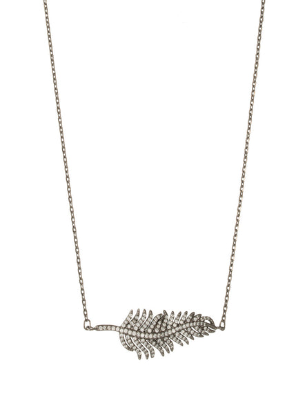 Feather hand set micro pave high quality CZ necklace, Gun metal finish