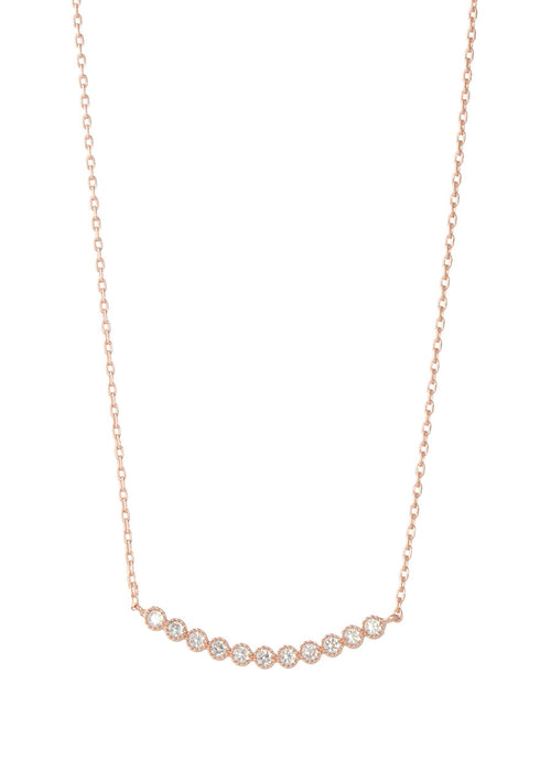 Petite Bezel set high quality CZ bar short necklace, Rose gold finish