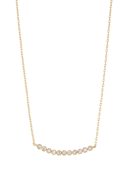 Petite Bezel set high quality CZ bar short necklace, Gold finish