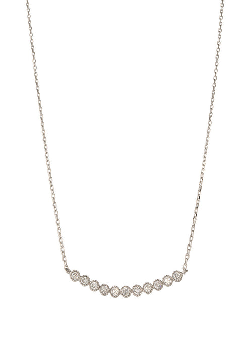 Petite Bezel set high quality CZ bar short necklace, White Gold finish