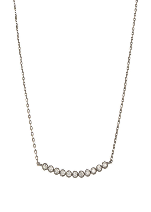 Petite Bezel set high quality CZ bar short necklace, Gun metal finish