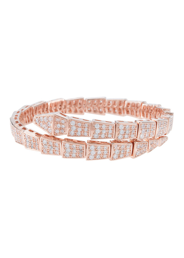 Egyptian flexible bangle bracelet with high quality micro pave CZ, Rose gold finish