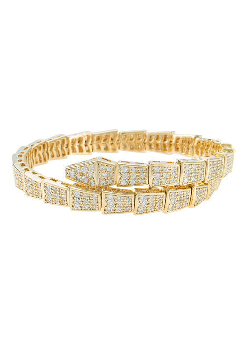 Egyptian flexible bangle bracelet with high quality micro pave CZ, Gold finish