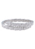 Egyptian flexible bangle bracelet with high quality micro pave CZ, White Gold finish