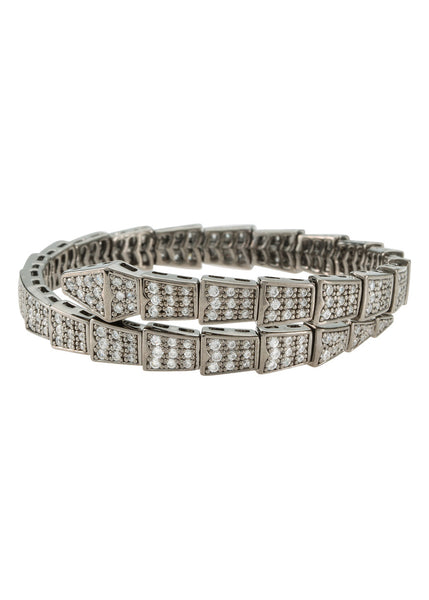 Egyptian flexible bangle bracelet with high quality micro pave CZ, Gun metal finish