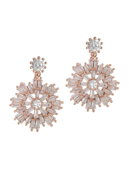 Baguette cut high quality CZ snow flake drop earrings, Rose gold finish