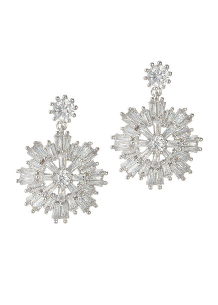 Baguette cut high quality CZ snow flake drop earrings, White gold finish