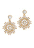 Baguette cut high quality CZ snow flake drop earrings, Gold finish