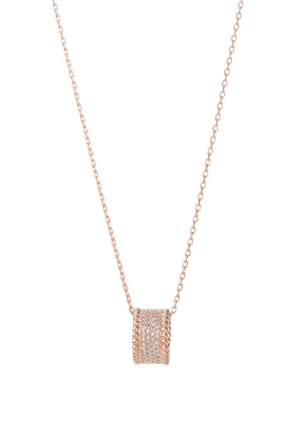 Long necklace with the ring pendant, Rose Gold finish