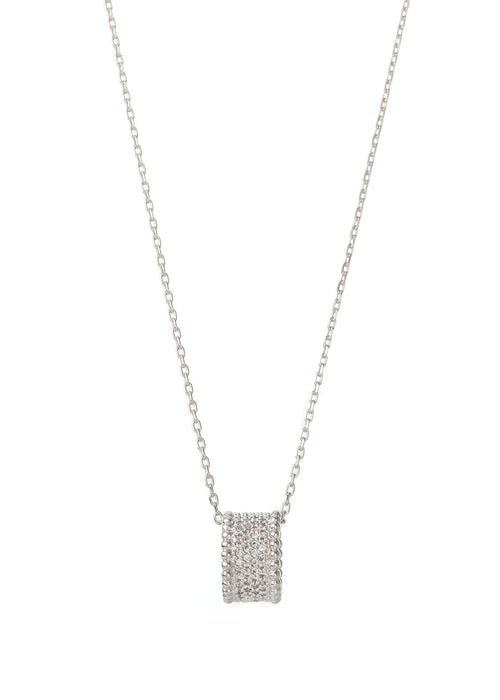 Long necklace with the ring pendant, White Gold finish