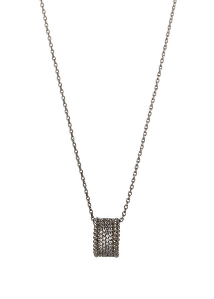 Long necklace with the ring pendant, Gun metal finish
