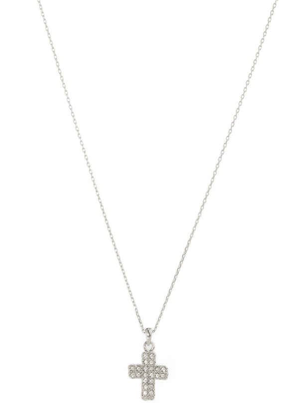 Renaissance Cross pave CZ long pendant necklace, White gold finish