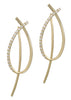 Together or separate, oval drop earrings with back bar drop with hand set high quality CZ, Gold finish