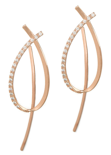 Together or separate, oval drop earrings with back bar drop with hand set high quality CZ, Rose Gold finish
