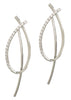 Together or separate, oval drop earrings with back bar drop with hand set high quality CZ, White Gold finish