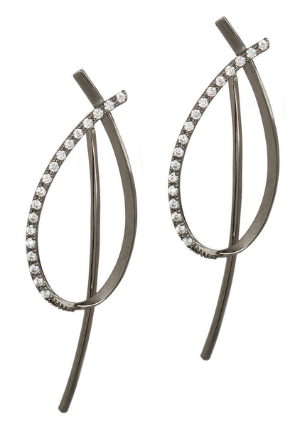 Together or separate, oval drop earrings with back bar drop with hand set high quality CZ, Gun metal finish