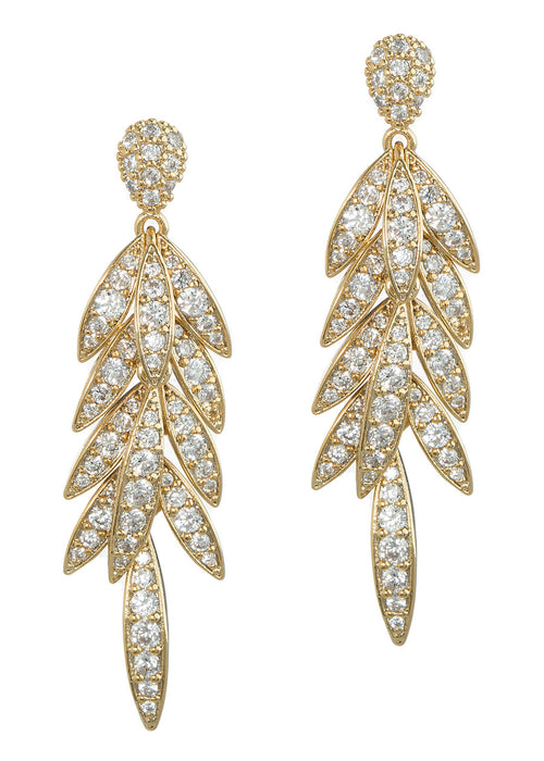 Laurel leaf chandelier earrings with hand set high quality CZ, Gold finish