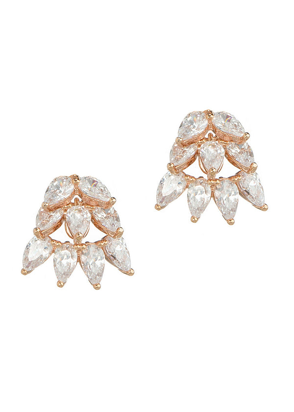 Cluster of clear tear drop cut hand set high quality CZ stud earrings, Rose Gold finish