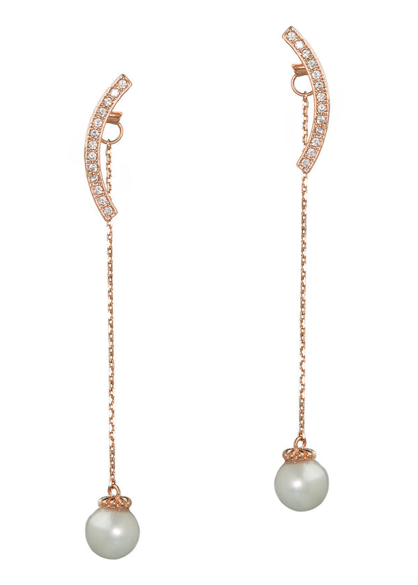 Together or separate round bar and drop pearl earrings in hand set high quality CZ, Rose Gold finish