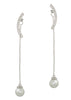 Together or separate round bar and drop pearl earrings in hand set high quality CZ, White Gold finish