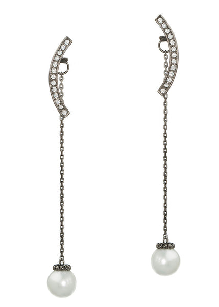 Together or separate round bar and drop pearl earrings in hand set high quality CZ, Gun metal finish