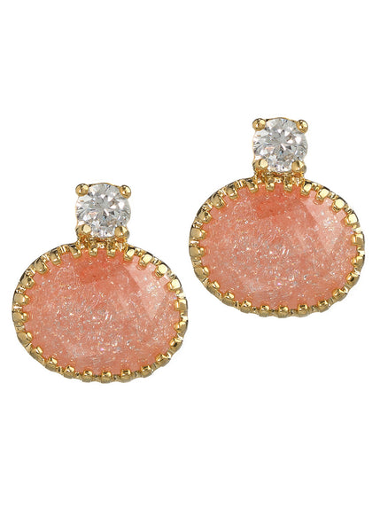 CZ accented vintage prong set crushed crystal, Gold finish, Coral