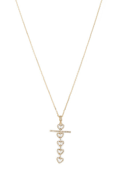 Heart cross long pendant necklace in hand set high quality CZ, Gold finish