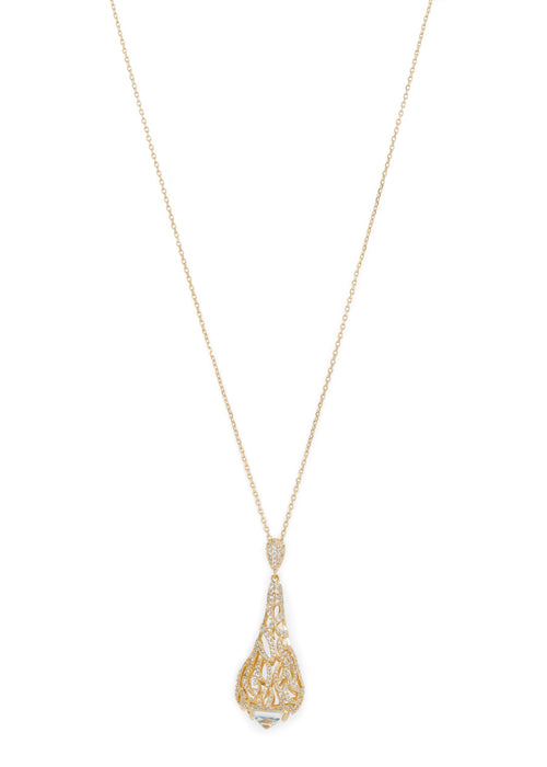 Moroccan motif long pendant necklace in hand set micro pave high quality CZ with rock CZ accent bed, Gold finish
