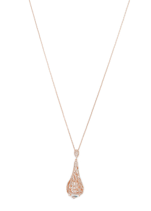 Moroccan motif long pendant necklace in hand set micro pave high quality CZ with rock CZ accent bed, Rose Gold finish