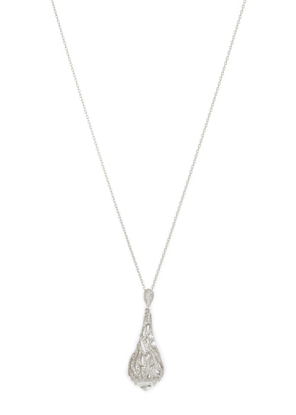 Moroccan motif long pendant necklace in hand set micro pave high quality CZ with rock CZ accent bed, White Gold finish