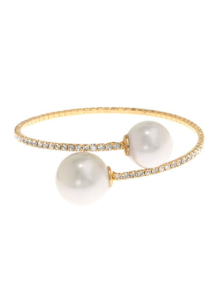 Single row flexible bracelet with two White shell pearls, Gold finish