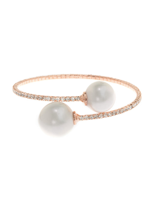 Single row flexible bracelet with two White shell pearls, Rose Gold finish
