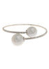 Single row flexible bracelet with two White shell pearls, White Gold finish