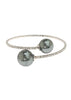 Single row flexible bracelet with two Gray shell pearls, White Gold finish