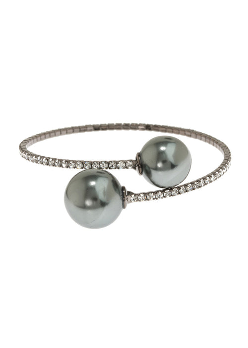 Single row flexible bracelet with two Gray shell pearls, Gun metal finish