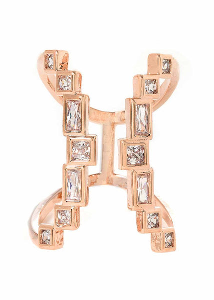 The 7th gate adjustable ring with high quality hand set CZ, Rose Gold finish