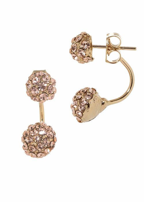 Floating ball front back earrings, Peach CZ, Gold finish. Can be worn separate or together