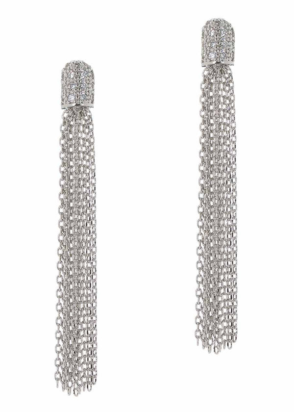 Cap tassel drop earrings with micro pave hand set high quality CZ, White Gold finish