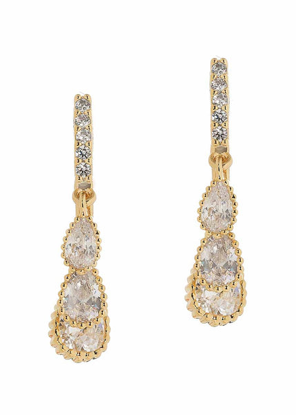 Cascading dew drop earrings with high quality CZ, Gold finish
