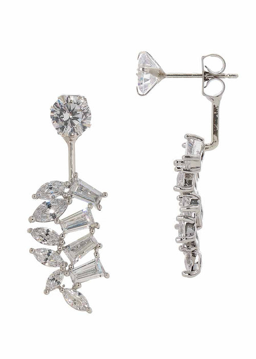 Floating leaf front back earrings with high quality CZ, White Gold finish, can be worn together or separate