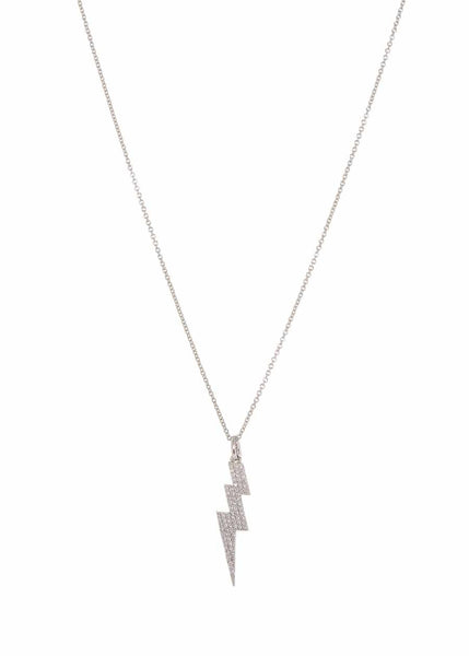 Lightening bolt short necklace with hand set high quality micro pave CZ, White Gold finish